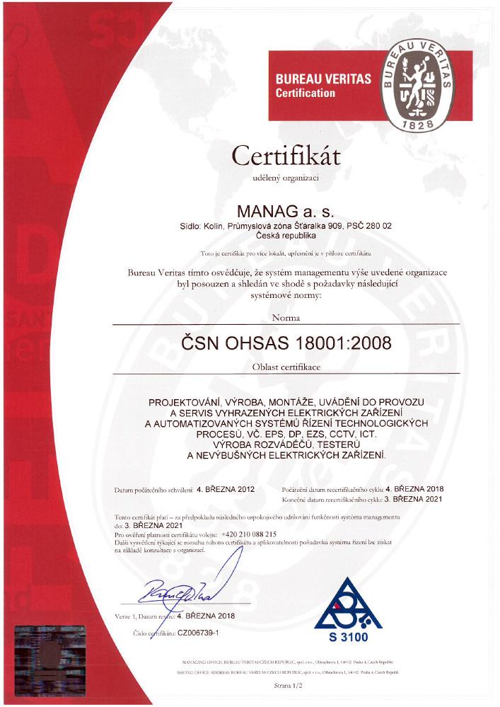Certifikát ČSN OHSAS 18001 společnosti Manag v JPG náhledu