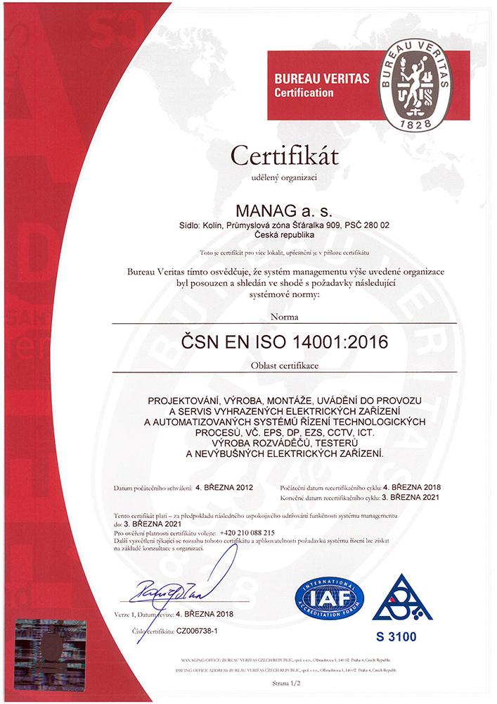 Certifikát ČSN EN ISO 14001 společnosti Manag v JPG náhledu