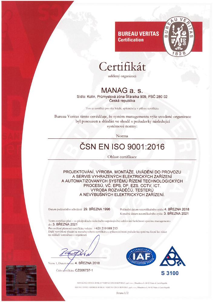 Certifikát ČSN EN ISO 9001 společnosti Manag v JPG náhledu
